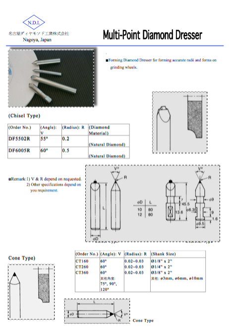 Nikko multiple point diamond dresser catalogue specifications