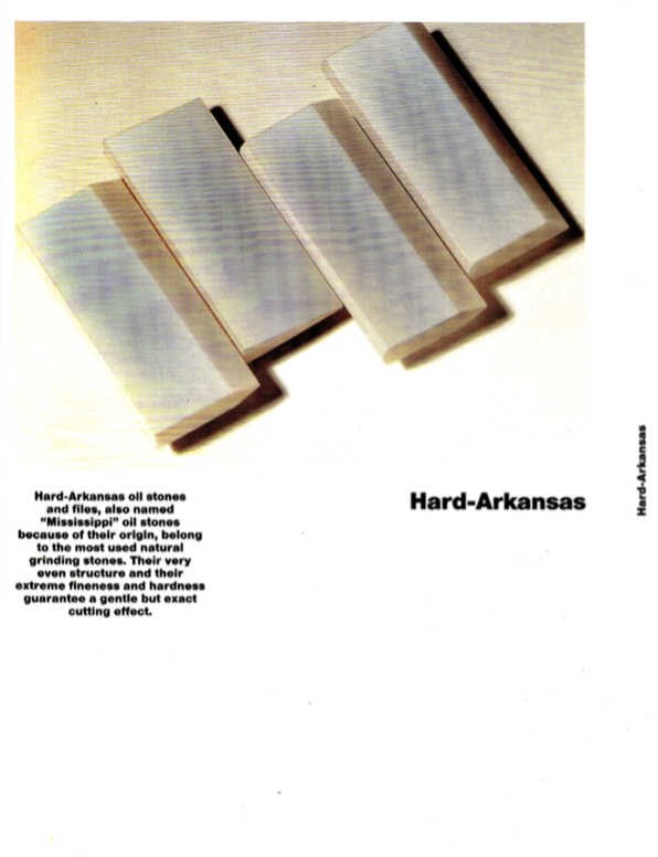 Hard arkansas and natural abrasive catalogue