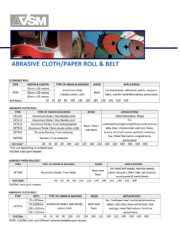 abrasive belt and roll by VSM catalogue