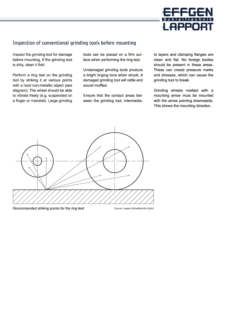 Grinding wheel instructions safety